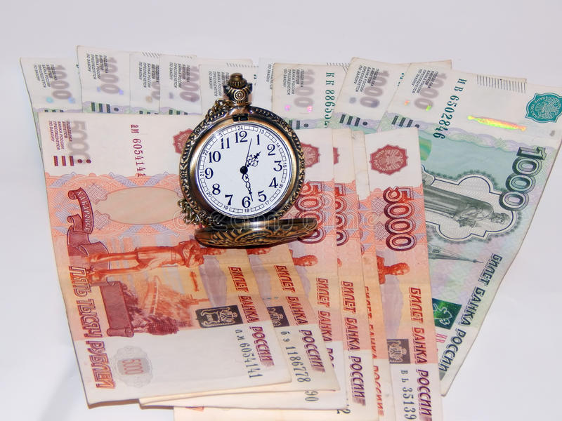 Download Pocket Watch With Russian Money Stock Photo - Image: 83707614
