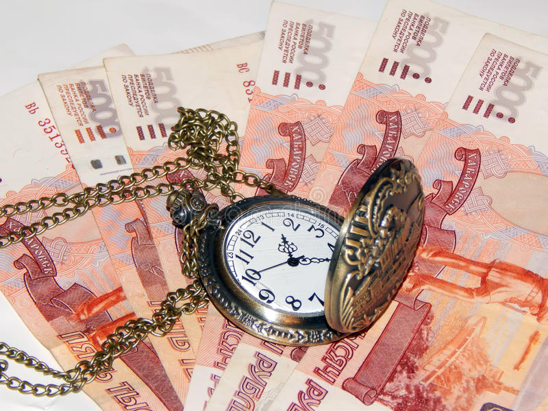 Download Pocket Watch With Russian Money. The Concept Of Time Is Money Stock Image - Image: 83708547
