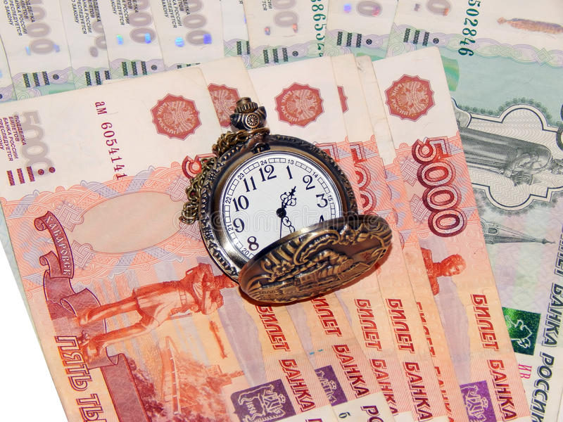 Download Pocket Watch With Russian Money. The Concept Of Time Is Money Stock Photo - Image: 83708646