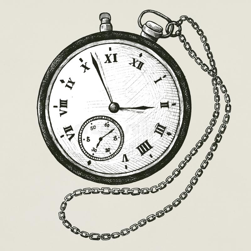 Pocket watch vintage style illustration royalty free illustration