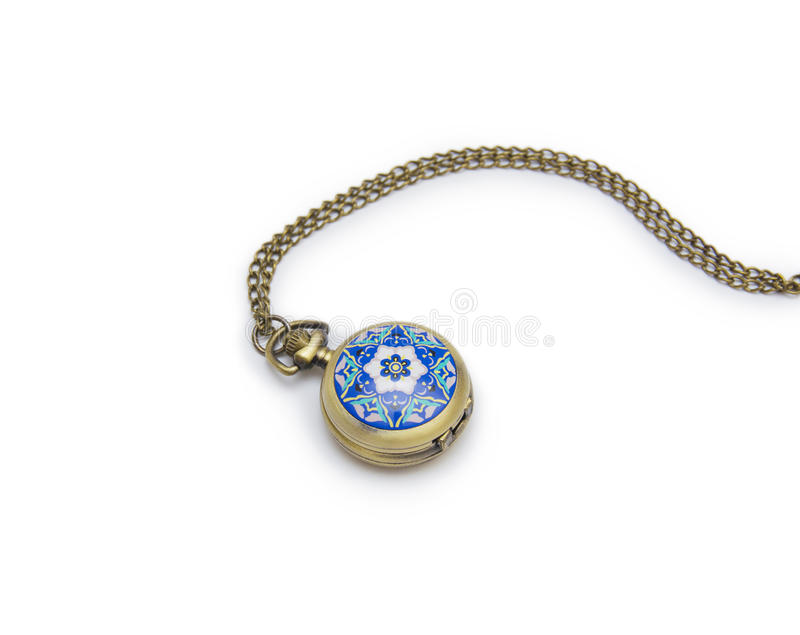 Pocket watch on white background, necklace isolated. On white royalty free stock photos