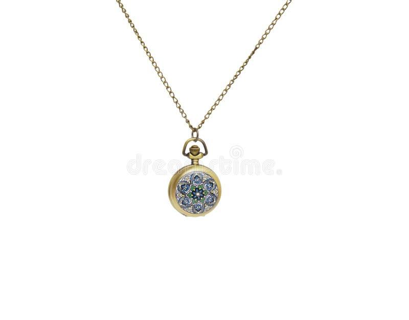 Pocket watch on white background, necklace isolated. On white royalty free stock photo