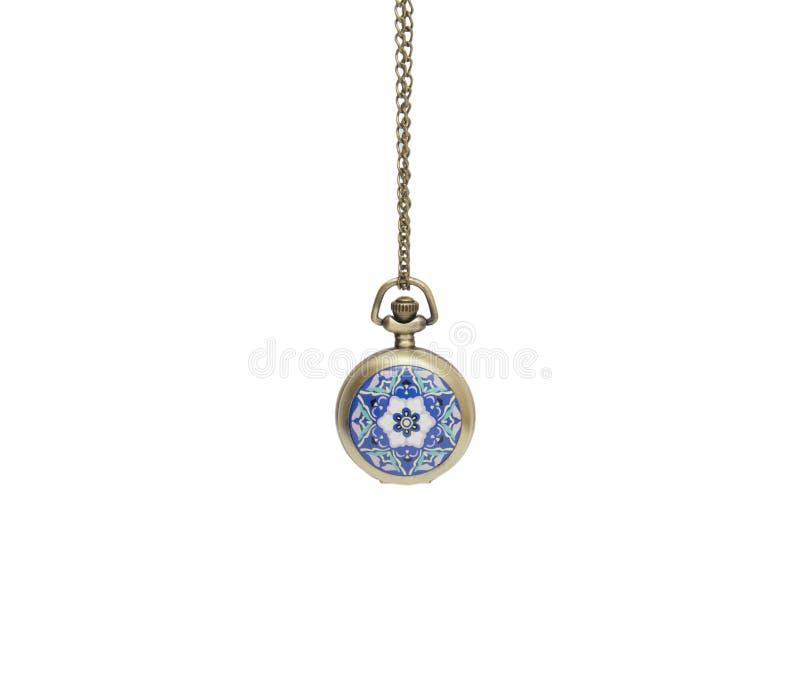 Pocket watch on white background, necklace isolated. On white stock photo