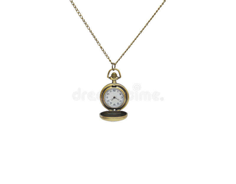 Pocket watch on white background, necklace isolated. On white stock photography