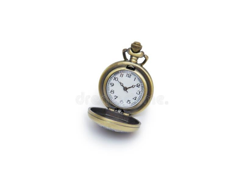 Pocket watch on white background, necklace isolated. Isolated royalty free stock image