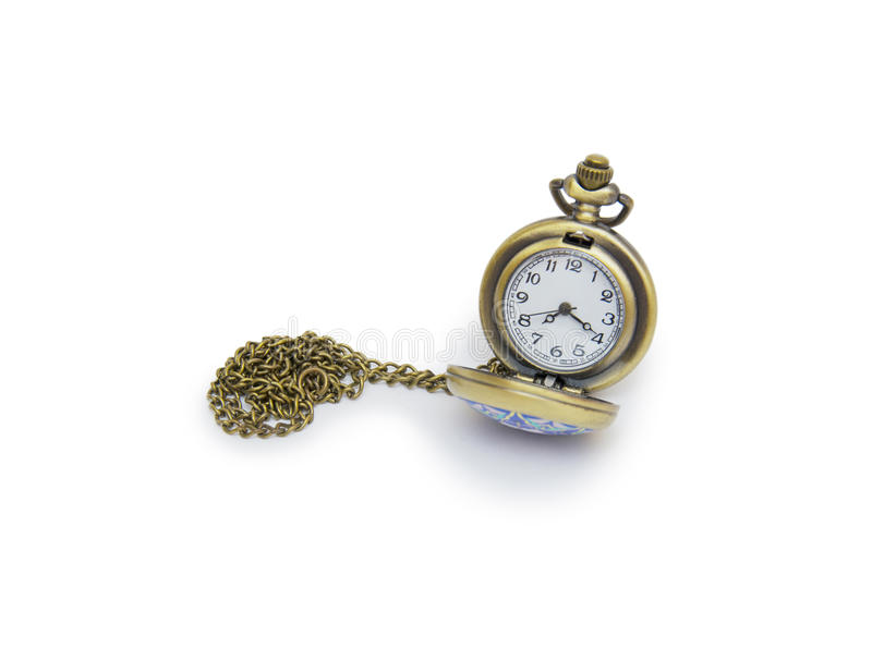 Pocket watch on white background, necklace isolated. On white royalty free stock photography