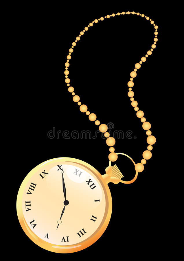 Pocket Watches. Gold Pocket Watches on the black background royalty free illustration