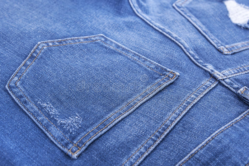 The pockets of denim pants. royalty free stock photography