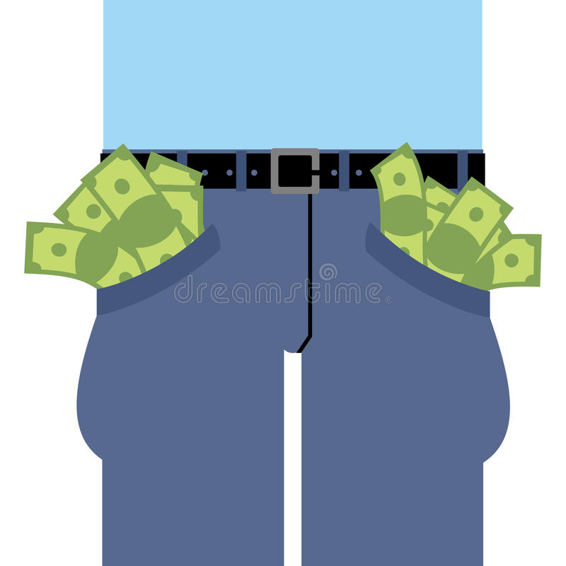 Pockets many money. Jeans full of cash. vector illustration