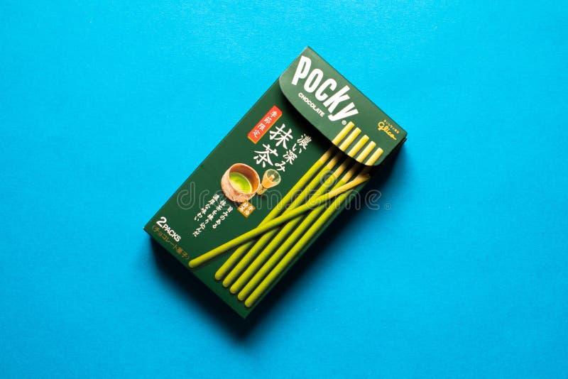 Pocky con sapore di matcha del tè verde fotografie stock libere da diritti