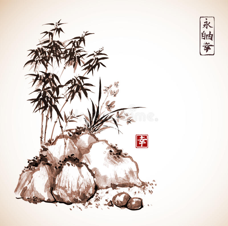 Poco árbol de bambú y orquídea salvaje en rocas ilustración del vector