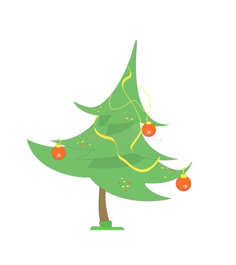 Poco albero di Natale con alcune palle e fiamme rosse Illustrazione di vettore Stile del fumetto immagini stock libere da diritti