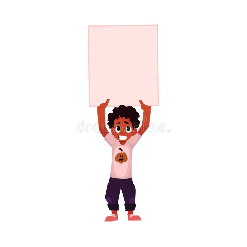 Poco annerisca, ragazzo afroamericano, bambino che tiene il manifesto vuoto in bianco illustrazione di stock