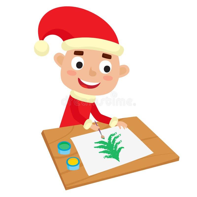 Poco artista del ragazzo di Santa all'albero di Chrismas della pittura e della tavola illustrazione vettoriale