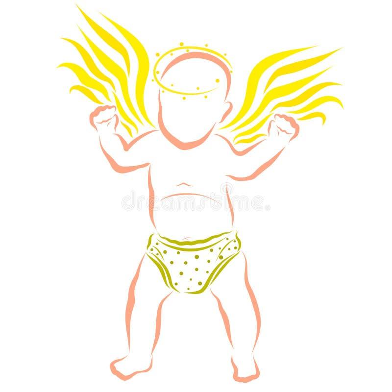Poco bambino alato in verde mette, angelo sveglio imparante camminare illustrazione di stock