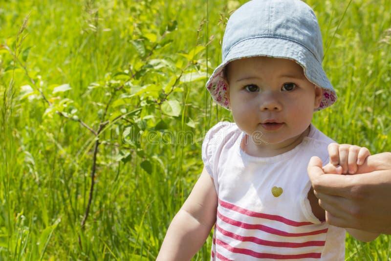 Poco bebé 9 meses, retrato soleado de un pequeño bebé en un prado verde Muchacha en Panamá y vestido rayado Niño que camina en a imagenes de archivo