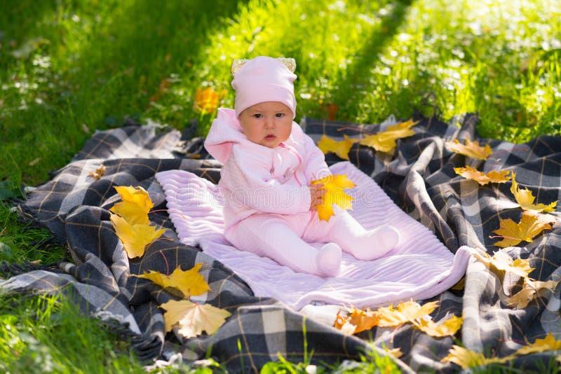 Poco bebé que se sienta en una manta al aire libre fotos de archivo libres de regalías