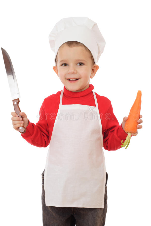 Poco capo-fornello con la lama e la carota di cucina immagine stock libera da diritti