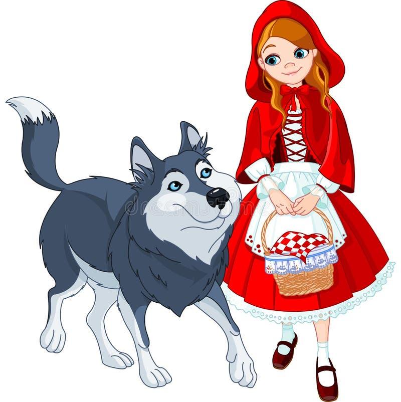 Poco cappuccio e lupo di guida rosso royalty illustrazione gratis