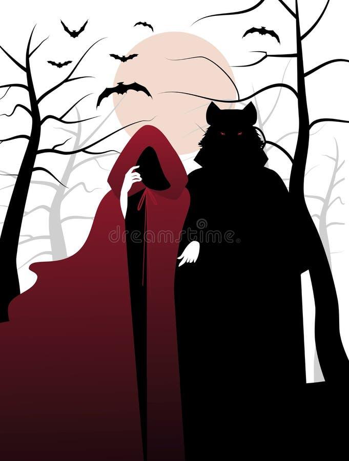Poco cappuccio e lupo di guida rosso nel legno Invito ad un ha illustrazione di stock