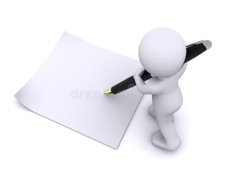 Poco carácter 3d escribe una tarjeta con la pluma grande stock de ilustración