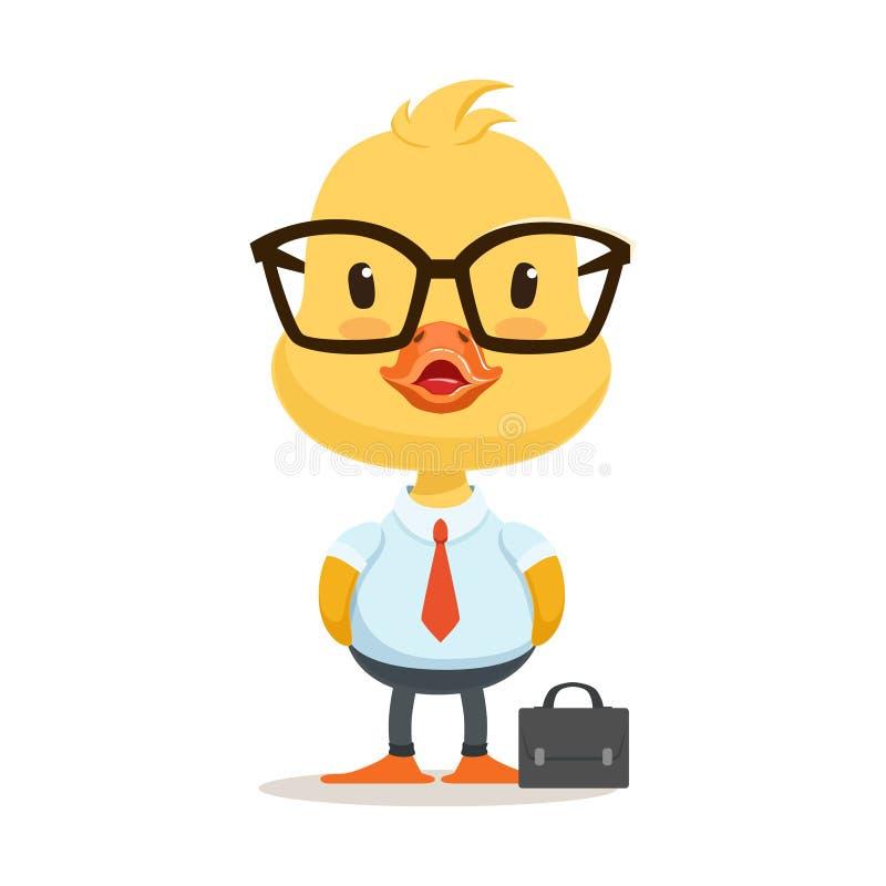 Poco carattere dell'anatroccolo del fumetto che dura come impiegato di concetto, illustrazione sveglia di vettore di emoji royalty illustrazione gratis