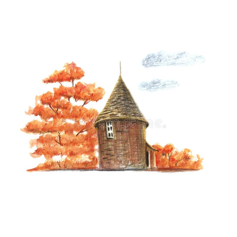 Poco casa del otoño stock de ilustración