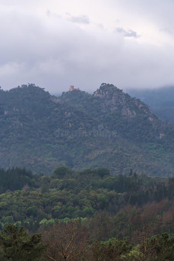 Poco castello catalano circondato di natura fotografia stock libera da diritti