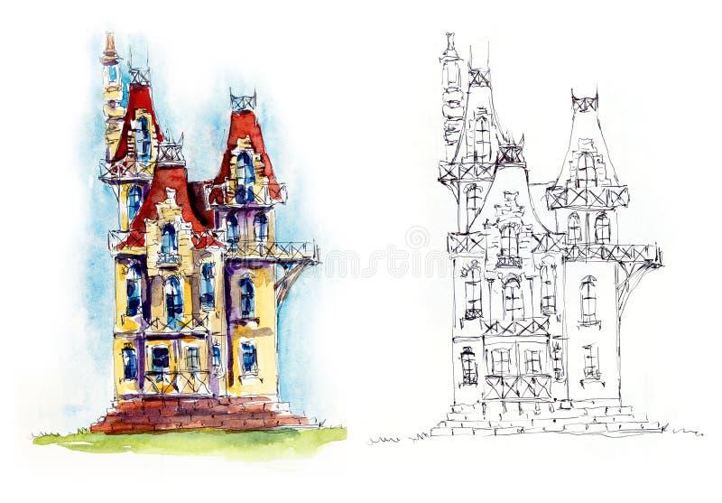 Poco castillo Ejemplo dibujado mano de la acuarela ilustración del vector