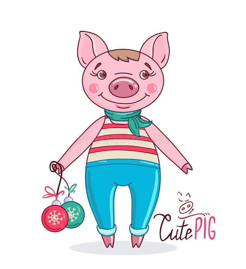 Poco cerdo lindo en el estilo de la historieta que sostiene bolas de la Navidad en su mano ilustración del vector