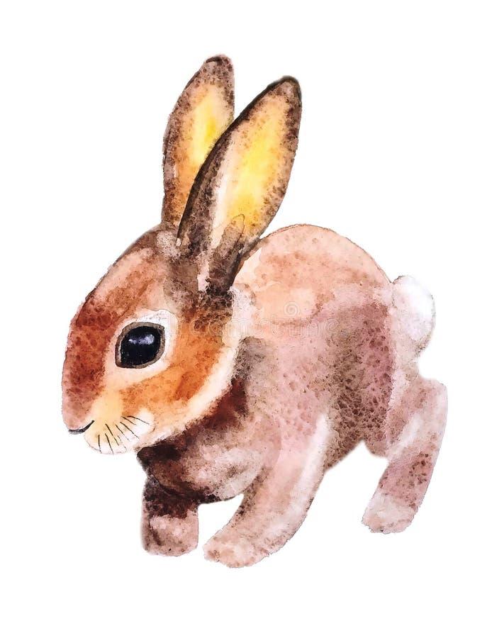 Poco conejito de pascua borroso del melocotón con los ojos hermosos se sienta con los oídos rosados aumentados ilustración del vector