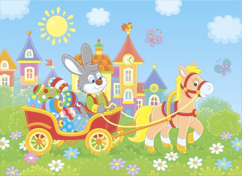 Poco conejito que lleva los huevos de Pascua en un carro stock de ilustración