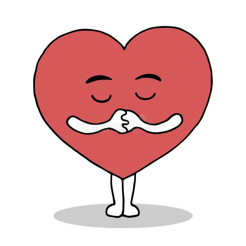 Poco corazón rojo lindo ruega para la paz y ama, vector la mano dibujada ilustración del vector
