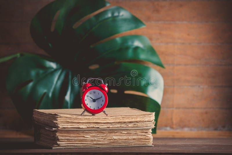 Poco despertador y libros con la hoja de palma fotos de archivo libres de regalías
