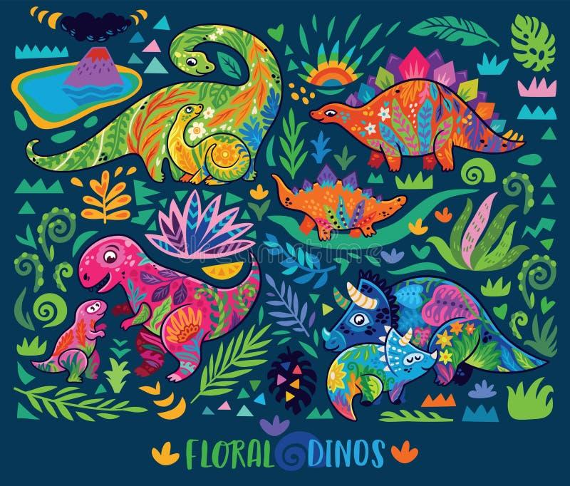 Poco dinosaurios con el elemento floral adornado mamáes Ilustraci?n del vector libre illustration