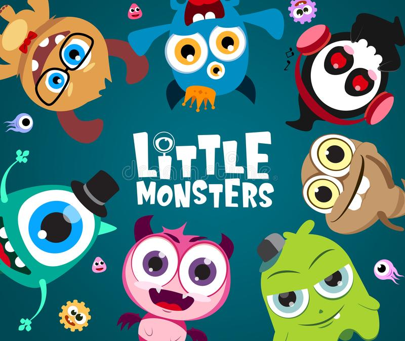 Poco diseño del fondo de los caracteres del vector de los monstruos Pequeño carácter lindo del monstruo con el texto en el espaci stock de ilustración