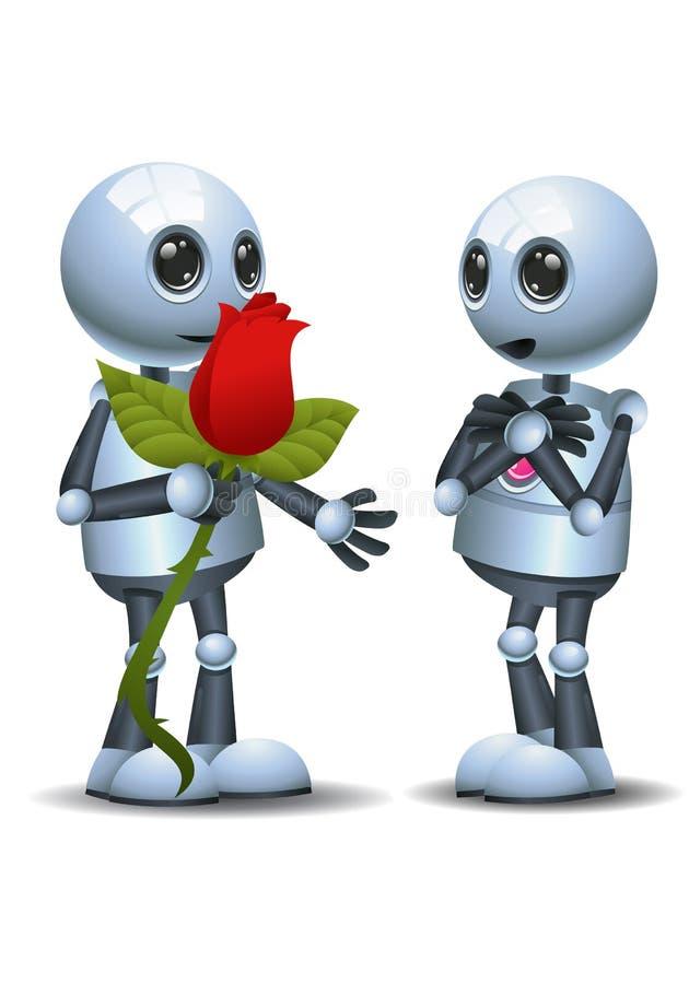 Poco donante del robot subió a su compañero ilustración del vector