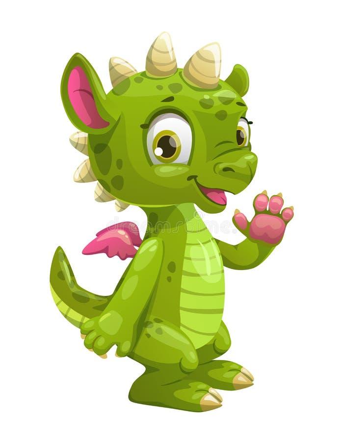 Poco dragón verde de la historieta linda stock de ilustración