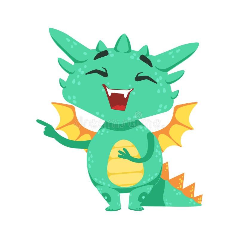 Poco ejemplo de Emoji del carácter de Dragon Laughing And Mocking Cartoon del bebé del estilo del animado ilustración del vector