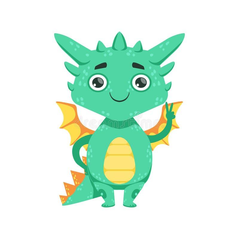 Poco ejemplo de Emoji del personaje de dibujos animados del gesto de Dragon Smiling And Showing Peace del bebé del estilo del ani stock de ilustración