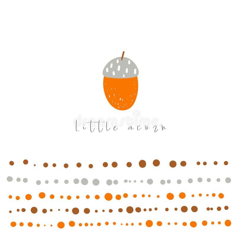 Poco ejemplo de la bellota Tarjeta exhausta de la mano divertida del garabato, postal, cartel con la semilla del roble libre illustration