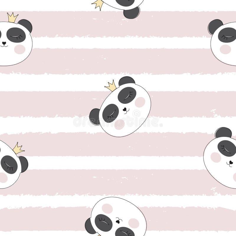 Poco ejemplo lindo del vector de princesa Seamless Pattern Background de Pamda stock de ilustración
