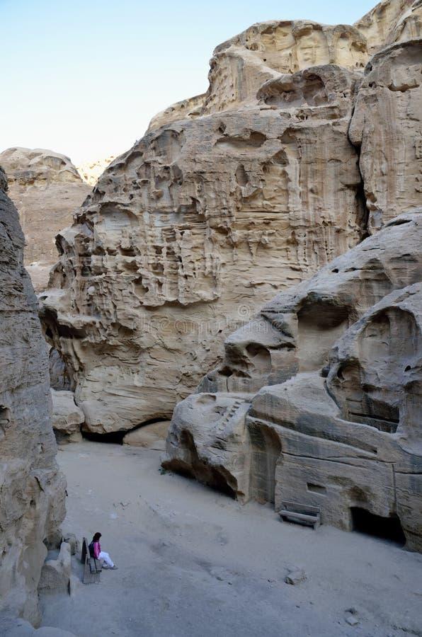 Poco emplazamiento turístico del Petra, Jordania foto de archivo libre de regalías
