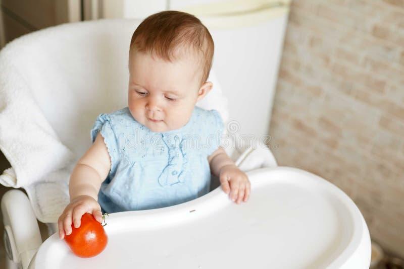 poco fare da baby-sitter nella sua sedia e giocare con le verdure la piccola ragazza mangia il pomodoro Alimento sano per i bambi immagini stock