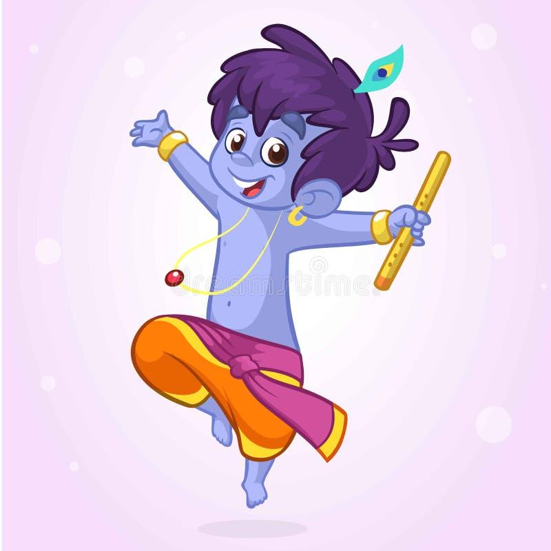 Poco fumetto Krishna con una flauto Cartolina d'auguri per il compleanno di Krishna Illustrazione di vettore isolata su una prior illustrazione vettoriale