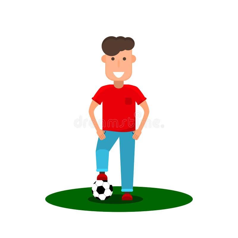 Poco futbolista Un hombre joven va a jugar a fútbol Embrome con un balón de fútbol en estilo plano stock de ilustración