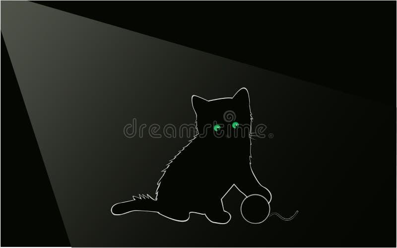 Poco gatito negro en la noche en el cuarto ilustración del vector