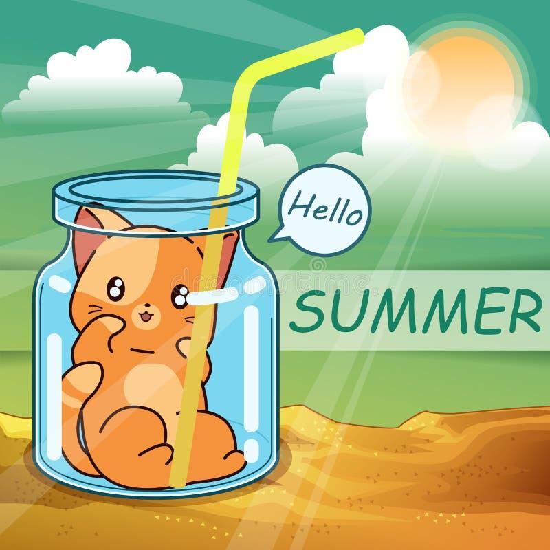 Poco gato dentro de la botella en el verano stock de ilustración