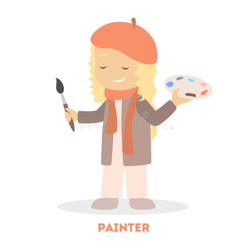 Poco juego de niños como cepillo de la tenencia de Kid del artista libre illustration