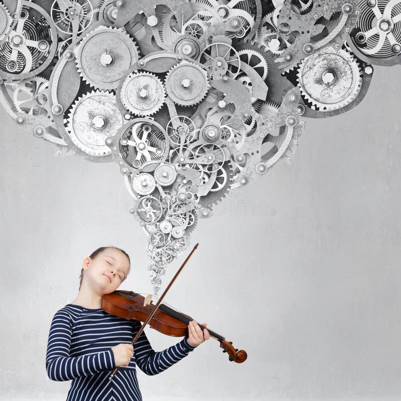 Poco jugador del violín imagen de archivo libre de regalías
